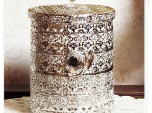 韩国代购 高档复古梳妆台式银色装饰垃圾桶筒化妆收纳桶 大号,垃圾桶,