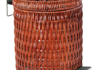 藤编织 家用 脚踏 垃圾桶 时尚 创意(8L)收藏9折,垃圾桶,