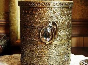 韩国官网代购 复古浪漫典雅金铜色镂空收纳桶/桌面垃圾桶 超大,垃圾桶,