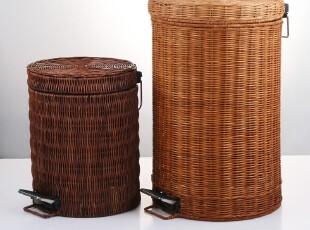 圆形藤编织垃圾桶脚踏 家用厨房田园式 日本卫生桶复古可爱时尚,垃圾桶,