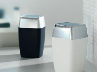 瑞士SPIRELLA 银河Retro简约时尚 白色黑色方格 摇盖垃圾桶废纸篓,垃圾桶,
