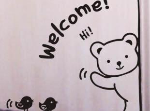 《小熊开门》创意艺术墙贴 卧室 儿童房厨房烹饪玻璃装饰贴M224,墙贴/开关贴,
