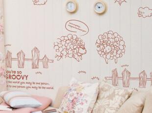 语恋墙贴 可爱绵羊 可装饰2M墙面 儿童房卧室客厅沙发背景T949*,墙贴/开关贴,
