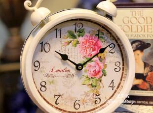 促销田园白色闹钟 家居饰品创意家居座钟挂钟花朵时钟墙贴礼品,墙贴/开关贴,