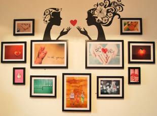 二代照片墙GZ005墙贴相框墙墙饰创意家饰11框心型新款,墙贴/开关贴,