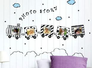 小火车相框 客厅卧室电视背景墙沙发背景个性PVC材质家居装饰墙贴,墙贴/开关贴,
