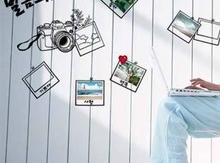 浪漫屋〖时光随影〗时尚客厅卧室书房背景照片贴 三代可移除墙贴,墙贴/开关贴,