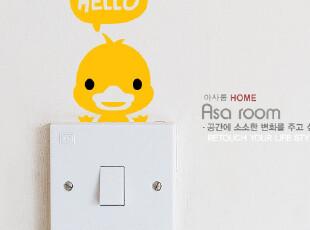 【Asa room】韩国进口壁贴 黄色卡通小鸭儿童墙贴客厅墙纸 a508-5,墙贴/开关贴,