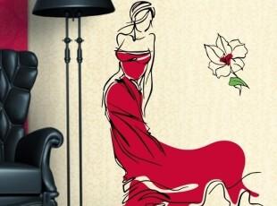 开心墙贴 店铺玻璃贴 客厅电视背景个性服装店人物模特 淑女模特,墙贴/开关贴,