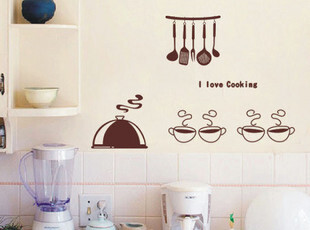 韩式宜家特价 餐厅厨房墙贴 瓷砖玻璃贴纸 创意个性墙贴 魔幻厨房,墙贴/开关贴,