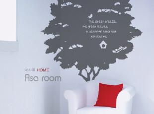 【Asa room】韩国壁贴 田园式大树和小鸟创意舞动的音符墙贴 a419,墙贴/开关贴,