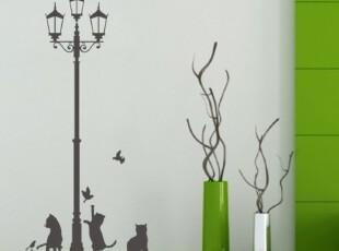 淘气猫客厅沙发背景墙贴 走廊个性贴卡通欧韩式卡通贴  M202,墙贴/开关贴,