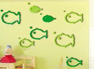 空间艺术立体墙贴 立体鱼 大号水晶客厅电视墙儿童房墙贴特价19.6,墙贴/开关贴,