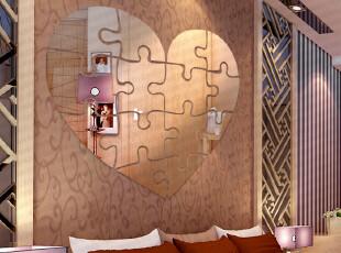 包邮 亚克力镜面墙贴 水晶浮雕 爱心拼图 卧室温馨浪漫床头结婚房,墙贴/开关贴,