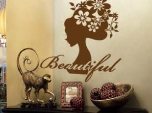 一代墙贴 花之女 卧室床头客厅沙发背景墙 墙贴纸 温馨浪漫,墙贴/开关贴,