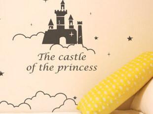 伊娃 2105云中城堡 卡通创意儿童房墙贴 背景墙 玻璃贴 教室布置,墙贴/开关贴,