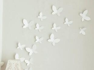 「echo house 」♥韩国家居直送♥ 立体白色蝴蝶墙贴 壁贴 需代购,墙贴/开关贴,