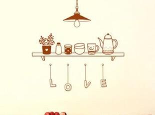 【吊灯 love】创意 个性 墙贴 儿童 厨房 防油房间装饰餐厅家居,墙贴/开关贴,