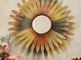 美式田园铁艺太阳花式镜框壁挂壁饰墙上装饰品铁艺壁挂墙贴,墙贴/开关贴,