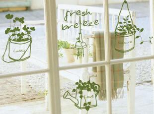 唯美吊篮 创意 防水墙贴纸 浴室 瓷砖 冰箱 玻璃贴 我家的小盆栽,墙贴/开关贴,