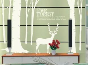 森林小鹿 客厅卧室沙发背景装饰大面积墙贴 小鹿,墙贴/开关贴,