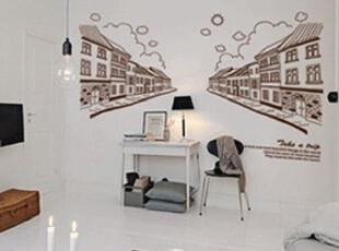 客厅墙贴时尚沙发墙背景墙贴纸个性卧室床头复古街道透视效果壁纸,墙贴/开关贴,
