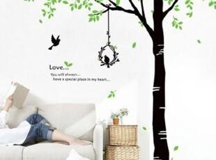 艾菲 客厅卧室床头餐厅沙发背景大型可移除墙贴 【树下的浪漫】,墙贴/开关贴,