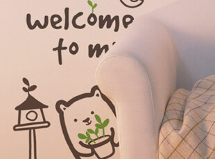 【Asa room】韩国进口代购壁贴 创意可爱小熊客厅墙纸墙贴 a389,墙贴/开关贴,