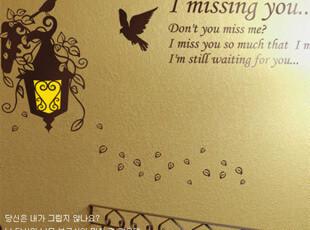 韩国 卧室浪漫满屋墙贴纸 沙发背景墙墙贴纸 I Miss you xx393,墙贴/开关贴,