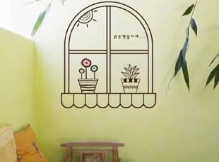 [韩国进口墙贴]T877 窗口小盆栽 PVC贴纸/装饰贴 四色可选,墙贴/开关贴,