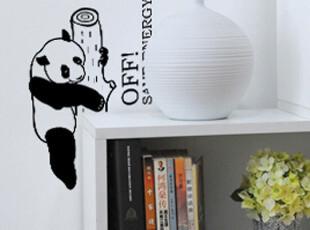 美庭可移除墙贴熊猫爬树卡通客厅墙面装饰个性贴纸随意贴玻璃贴纸,墙贴/开关贴,