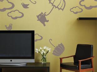可爱猫狗卡通自粘墙贴DIY可移除墙贴纸客厅卧室包邮 香港ZENSE,墙贴/开关贴,