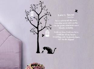 环保墙贴纸 客厅卧室电视背景墙贴纸 可移墙贴 树 小猫墙贴,墙贴/开关贴,