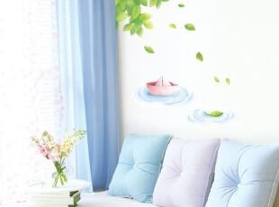 叮叮 墙贴纸 客厅电视沙发背景墙贴画 卧室墙壁纸 湖面纸船淡粉,墙贴/开关贴,