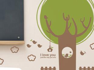 『韩国进口贴纸』A469 卡通圆形大树和鸟巢 环保墙贴 装饰贴,墙贴/开关贴,