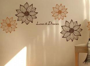 温馨花朵可移除墙贴纸客厅卧室婚房电视背景墙壁墙面装饰墙贴,墙贴/开关贴,