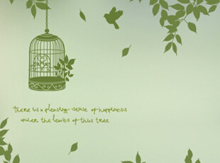 【Asa room】韩国进口代购壁贴 田园鸟语树林创意卧室墙贴 a307,墙贴/开关贴,