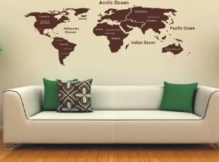 格调空间 简约世界地图 办公环境/工作间/书房/沙发背景墙贴 贴纸,墙贴/开关贴,