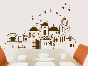 墙贴  地中海风格 地中海城堡墙贴纸 沙发卧室背景墙mm17,墙贴/开关贴,