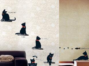猫咪嘉年华*韩国进口自粘墙贴玄关贴客厅卧室沙发电视背景贴纸,墙贴/开关贴,