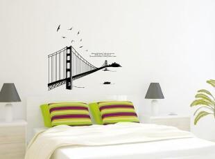韩国进口自粘墙贴/客厅卧室沙发电视背景贴/欧式时尚美国纽约大桥,墙贴/开关贴,