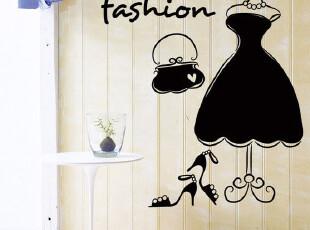 衣架|商铺服装店玻璃贴橱柜贴商店贴纸墙贴壁贴镜面贴壁画装饰,墙贴/开关贴,
