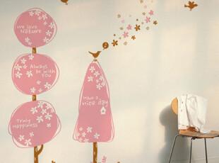 『韩国进口贴纸』R255 可爱大树和小鸟 PVC贴纸墙贴装饰贴,墙贴/开关贴,