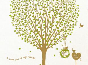『韩国进口贴纸』B795 爱心形状的大树 PVC墙贴/装饰贴 七色可选,墙贴/开关贴,