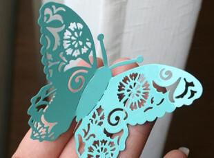 【北欧】蝶舞蹁跹-剪纸风格冰箱贴/便签贴/装饰贴 墙贴-蓝色,墙贴/开关贴,