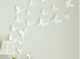 韩国代购 纯白蝴蝶立体墙贴/墙饰/装饰贴片/12片,墙贴/开关贴,