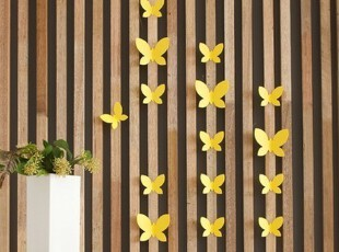 韩国代购 黄色蝴蝶立体墙贴/墙饰/装饰贴片/12片,墙贴/开关贴,