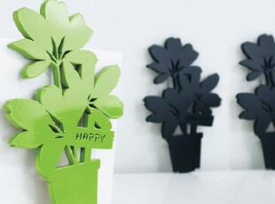 创意家居 客厅卧室装饰背景 水晶立体墙贴 立体小盆栽,墙贴/开关贴,