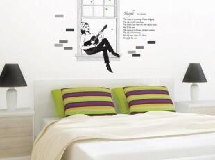 浪漫吉他爱情-韩国进口-电视沙发背景墙贴-DIY壁贴-瓷砖贴-玻璃贴,墙贴/开关贴,