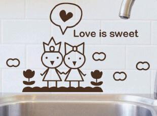 环保浴室卫生间创意装饰可爱马桶贴纸 甜蜜爱恋 厨房餐厅卡通墙贴,墙贴/开关贴,